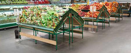 Fresh organic food in supermarket trading floor