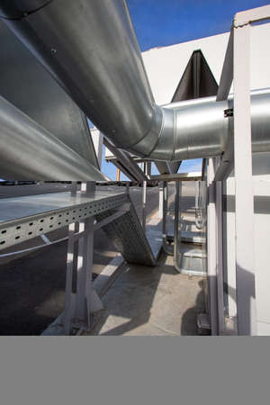 Large pipes of Ventilation and air conditioning system with pipes. Outdoor part of system.