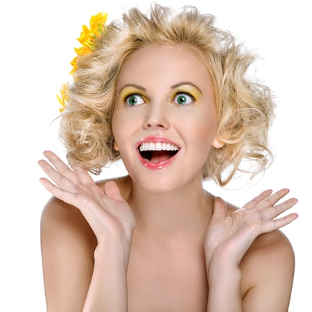 Portrait of a beautiful female model on white background Stock Photo - 15739432