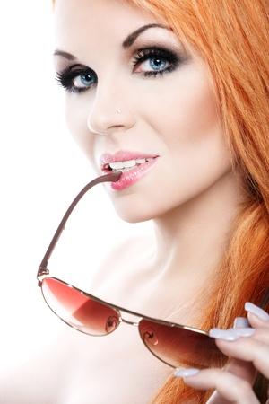 Beautiful woman with sunglasses photo