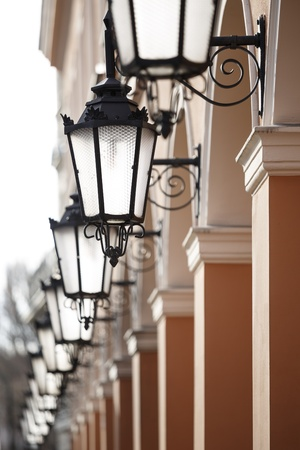 Antique street lights row Standard-Bild