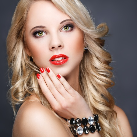 Beautiful blonde with long hair  Stock Photo