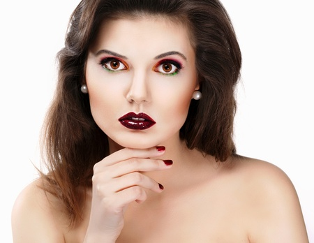 Beautiful woman with red lips photo