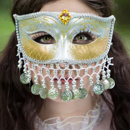 Misteriosa mujer en la máscara Foto de archivo