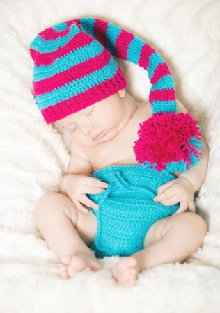 Funny sleeping infant Foto de archivo