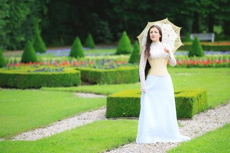 Beautiful woman in gothic dress