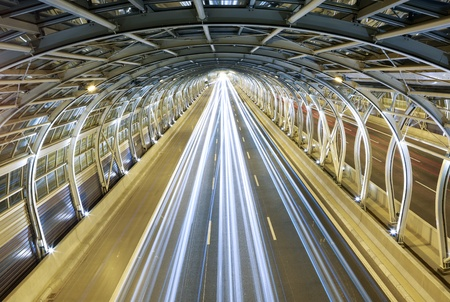 Modern tunnel and traffic photo