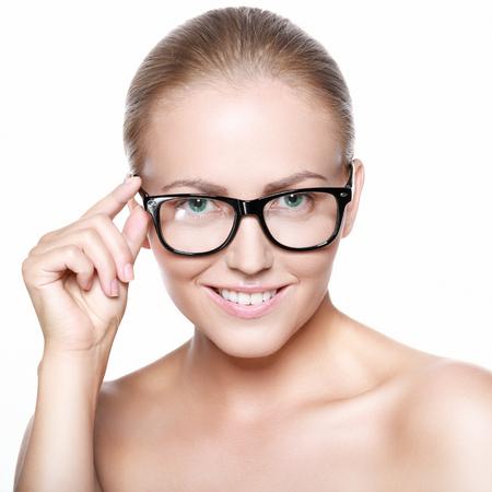 buisness woman: Beautiful smiling blonde in glasses