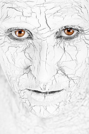 Woman with cracked skin