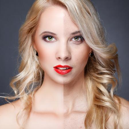 dermatologo: Volto di donna giovane bella prima e dopo ritocco