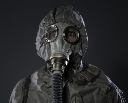 The man in a gas mask  photo