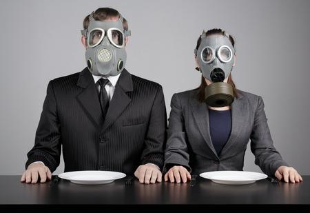 Couple at gas masks