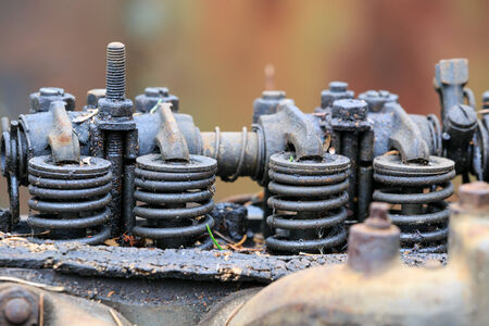 Engine of an old car, macro photography  photo