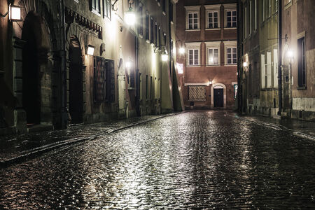A street in the old town of Warsaw at night  photo