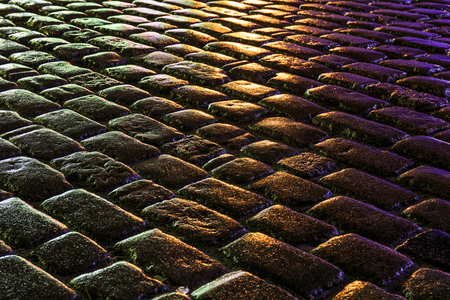 Wet pavement at night as an abstract  Stock Photo