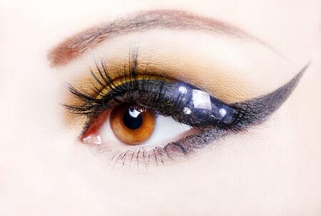 cilia: Eye close up with beautiful make-up, macro photography  Stock Photo