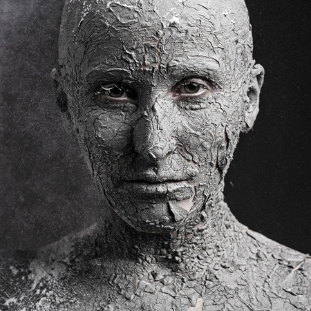 nightmarish: Scary face with cracked skin