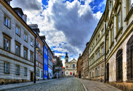 Street of the old town in Warsaw  Street Mostowa HDR-high dynamic range