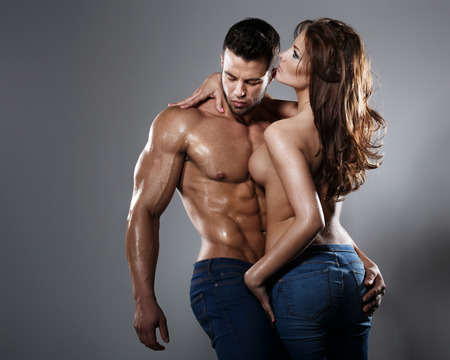 sexy naked woman: Passion woman and man  Stock Photo