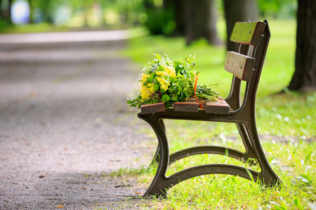 Bouquet of flowers on a bench in the park in spring  photo