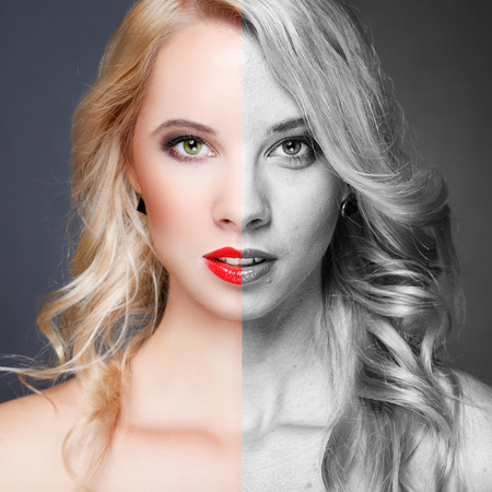 Face of beautiful young woman before and after retouch photo
