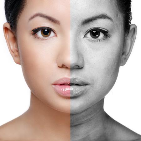 aged: Fronte di bella giovane donna prima e dopo il ritocco