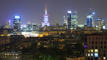 Panorama of Warsaw by night