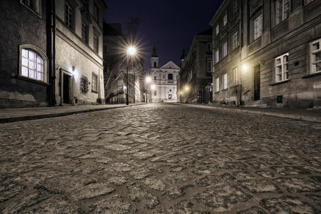 tenement: The street of the old town in Warsaw at night