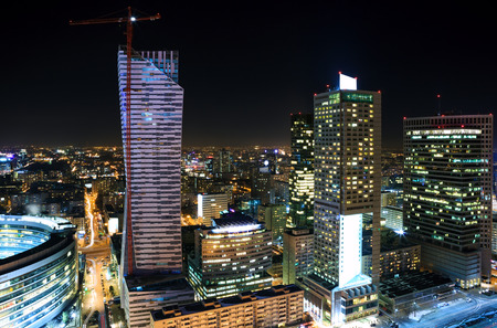 Panorama of Warsaw city center at night Stock Photo