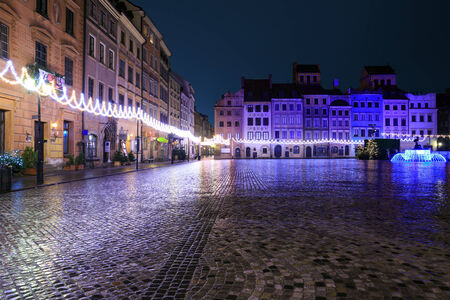 Festively adorned old town square in Warsaw photo