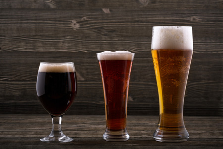 unwholesome: Various types of beer Stock Photo