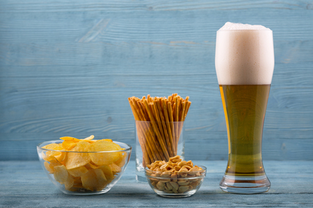 unwholesome: Beer and snacks, chips, bread sticks and peanuts