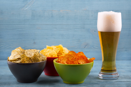 unwholesome: Beer and various types of chips