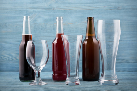 unwholesome: Various types beer and beer glasses
