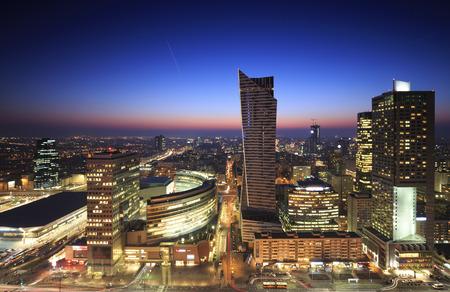 panorama city: Warsaw city center at sunset