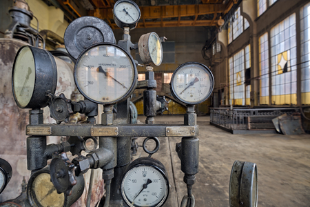 high dynamic range: Indicators for the measurement in an old factory.Natural high dynamic range HDR Stock Photo
