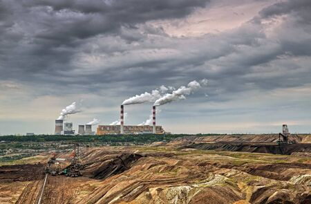 mining: Open pit mine and power plant. HDR - high dynamic range