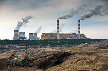 carbon pollution: Open pit mine and power plant. HDR - high dynamic range