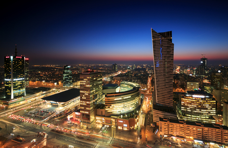 Warsaw city center at sunset