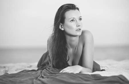sexy brunette woman: Beautiful woman on the beach