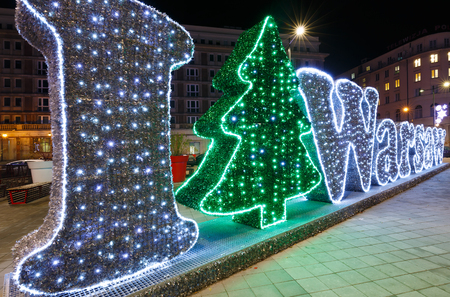 insurgents: Christmas decoration on the Warsaw Insurgents Square at night