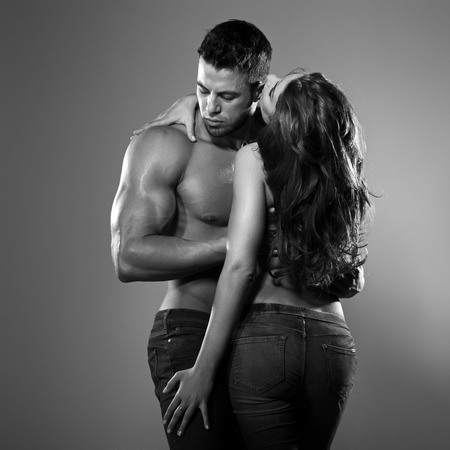 sexy redhead: Passionate couple in studio Stock Photo