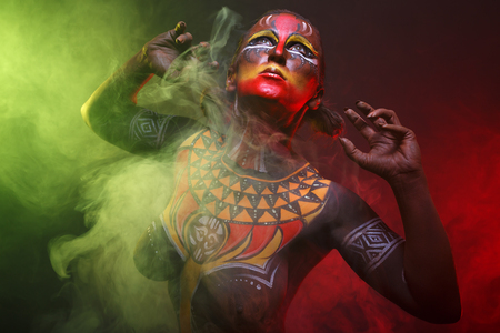 Bodypainting. Woman painted with ethnic patterns Stock Photo