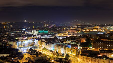 portugese: Night view over Lisbon, Portugal