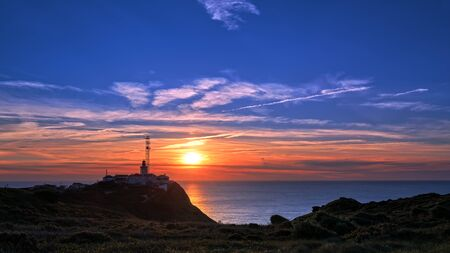 high dynamic range: Lighthouse at Cabo da Roca in Portugal at sunset. HDR - high dynamic range