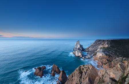 roca: The cliffs of Cabo da Roca, Portugal. The westernmost point of Europe Stock Photo