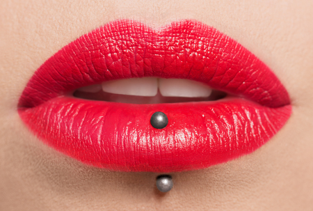 Passionate red lips,macro photography. Small depth of field