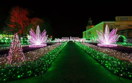 wilanow: Christmas illuminations in the park in Wilanow, Warsaw