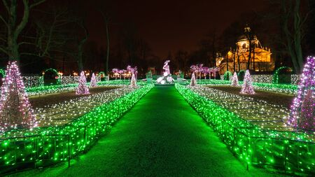 Christmas illuminations in the park in Wilanow, Warsaw