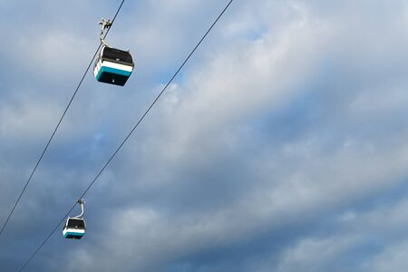 portugese: Cable car in Lisbon against the sky